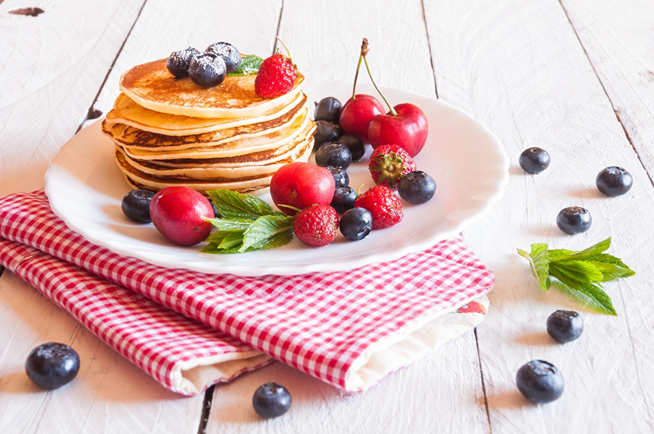 Image hotcake Blueberries Food Plate Berry Pancake