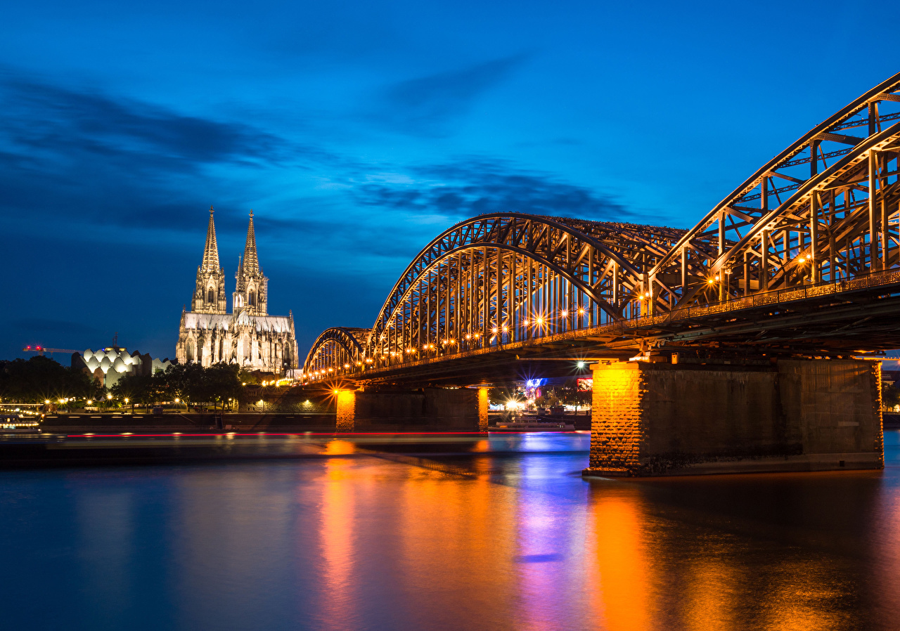 Wallpaper Church Cologne Germany Hohenzollern Bridge and Cathedral bridge river temple Evening Street lights Cities Bridges Rivers Temples