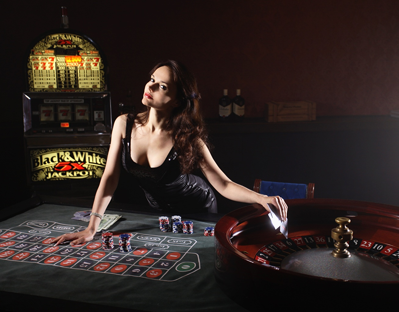 Images Brown haired roulette Casino young woman Table Hands Glance frock Girls female Staring gown Dress