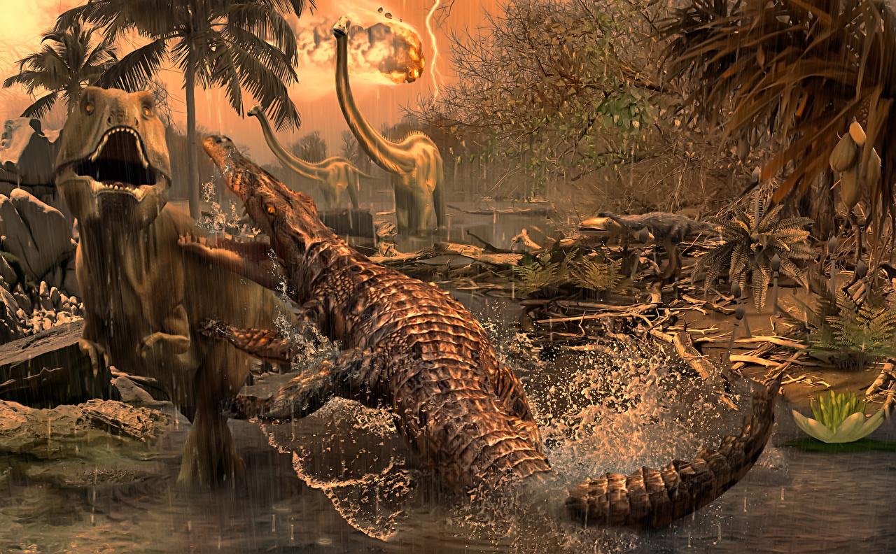 Desktop Wallpapers Tyrannosaurus rex Crocodiles Fight Animals Ancient animals animal