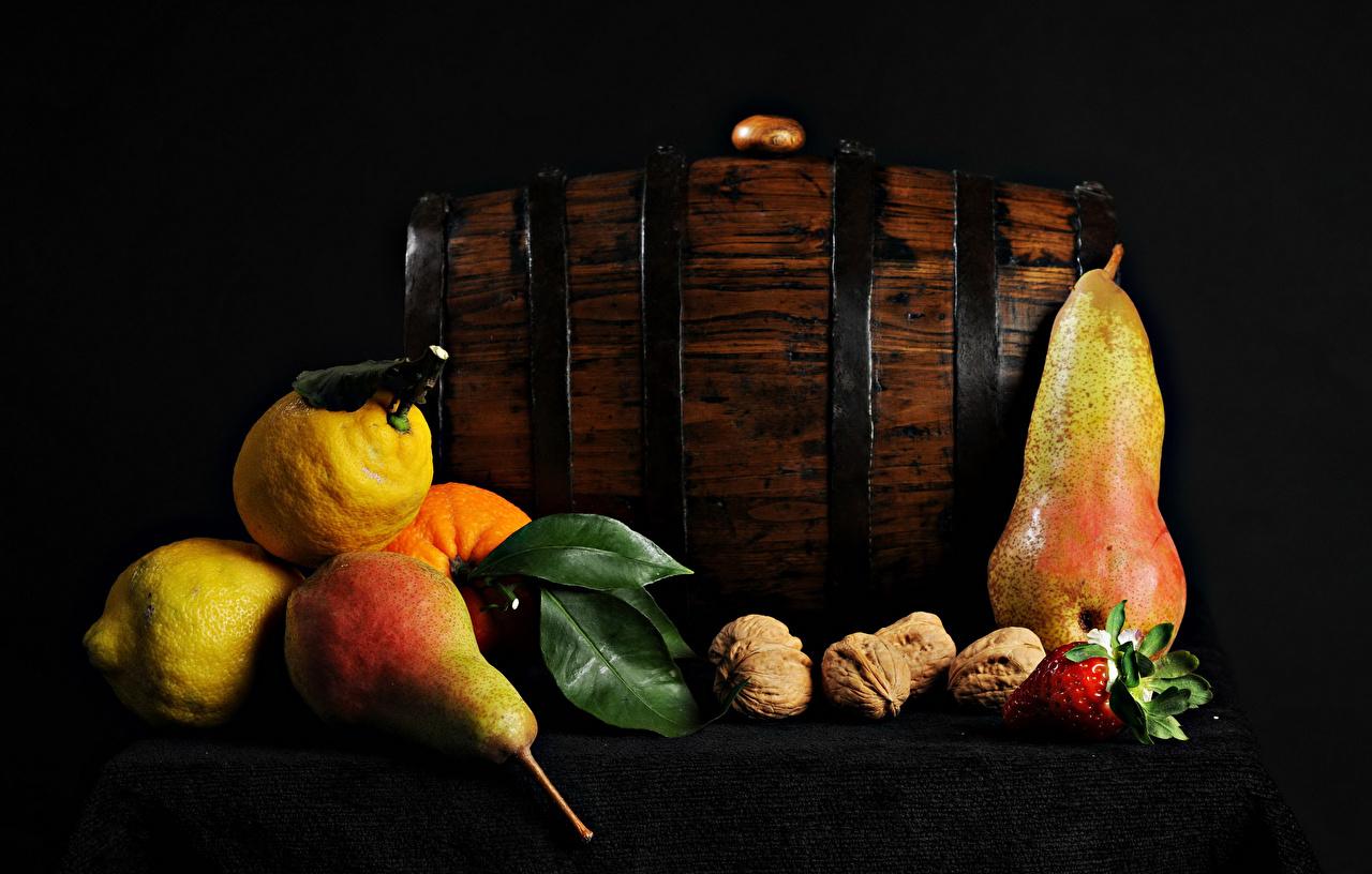 Image Pears Lemons Strawberry Food Table Nuts