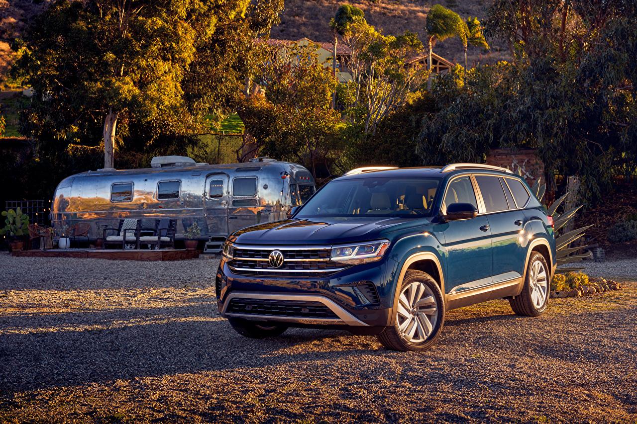 Volkswagen 2021 Atlas V6 Azul Crossover Metálico carro, automóvel, automóveis Carros