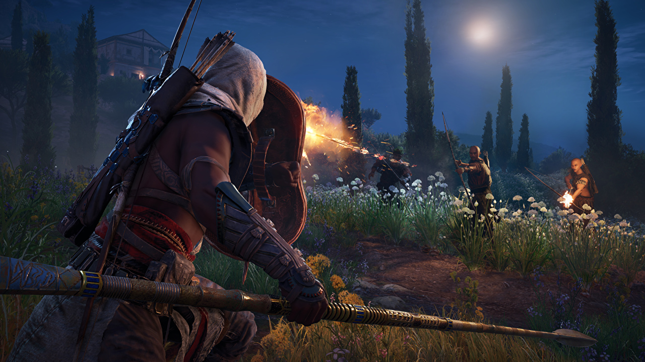 Photo Assassin's Creed Origins Spear Warriors 3D Graphics vdeo game Night warrior Games night time