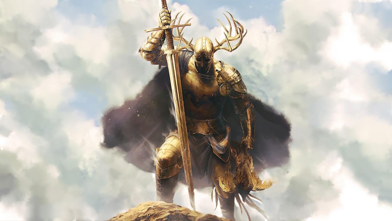 Foto Ritter Schwert Rüstung Krieger Horn Fantasy Gold Farbe