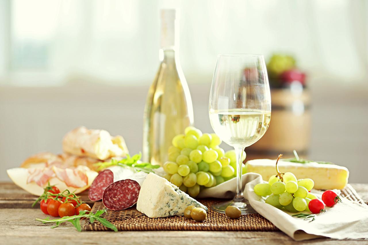 Photo Wine Olive Sausage Tomatoes Grapes Cheese Food Stemware