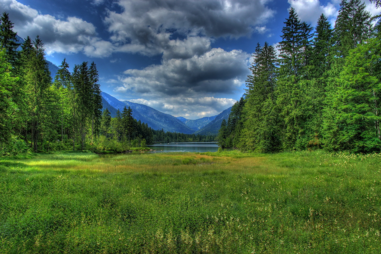 Picture Bavaria Germany Ramsau bei Berchtesgaden HDR Nature landscape photography Grass Clouds HDRI Scenery