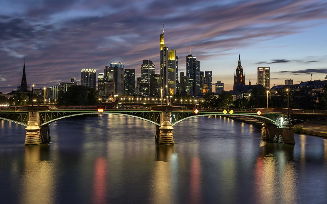 Image Frankfurt Germany bridge river Night Street lights Houses Cities Bridges Rivers night time Building