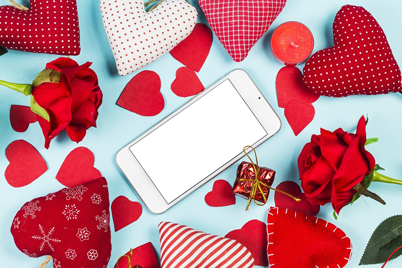 Wallpaper Valentine's Day Heart smartphones Flowers Template greeting card Smartphone flower