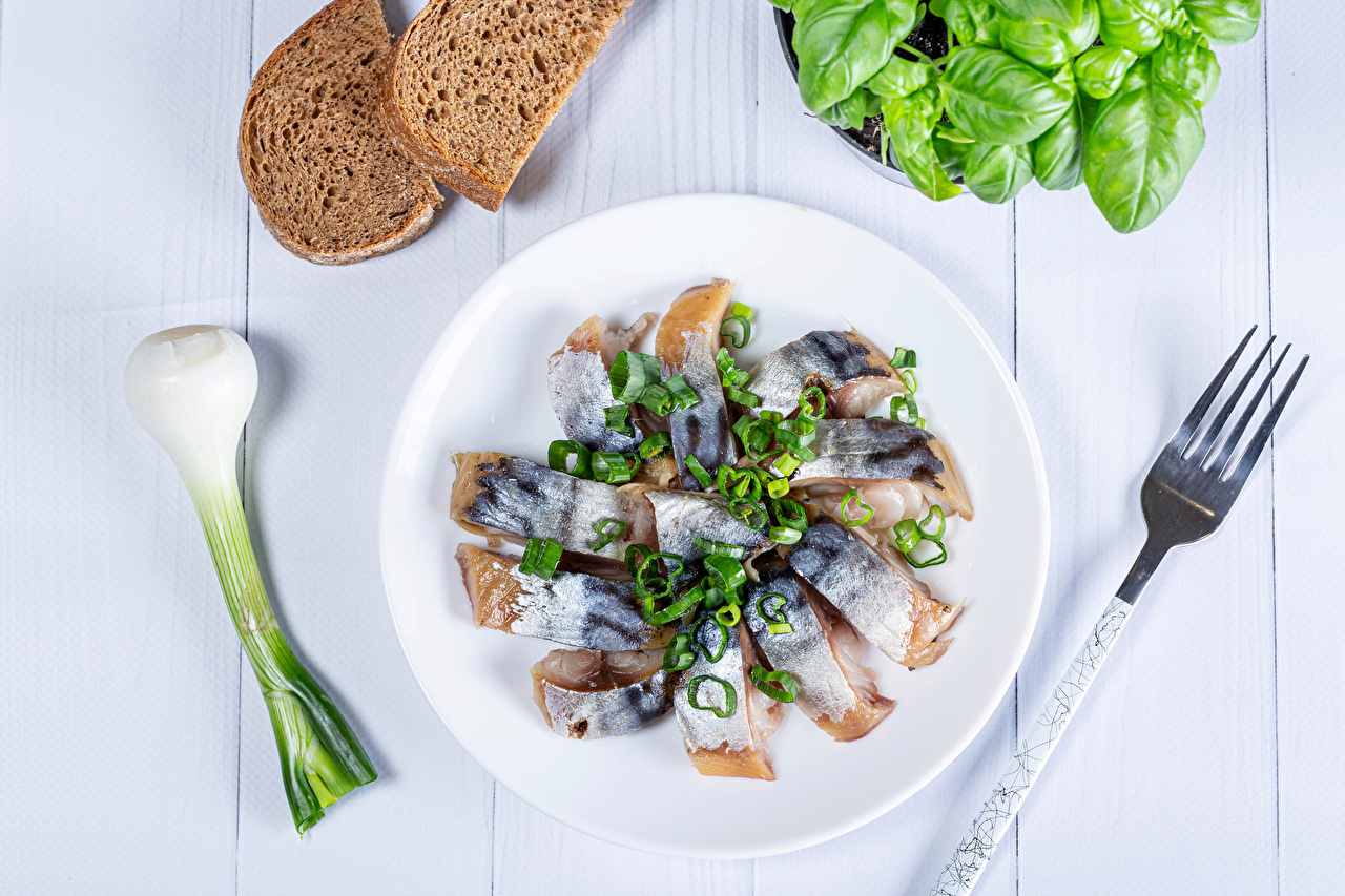 Photos salad onions Bread Fish - Food Fork Food Plate Vegetables Scallion