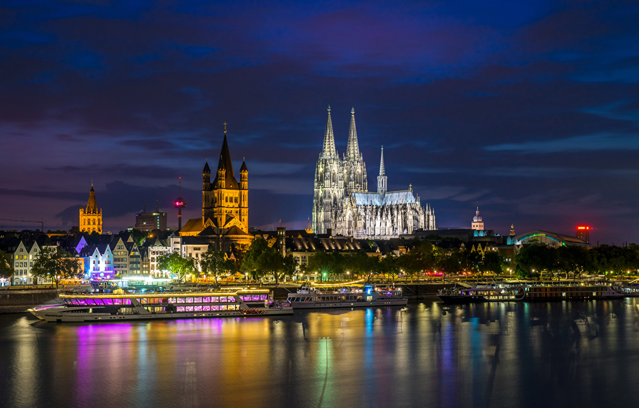 Pictures Cologne Germany Riverboat Pier Rivers night time Houses Cities river Berth Night Marinas Building