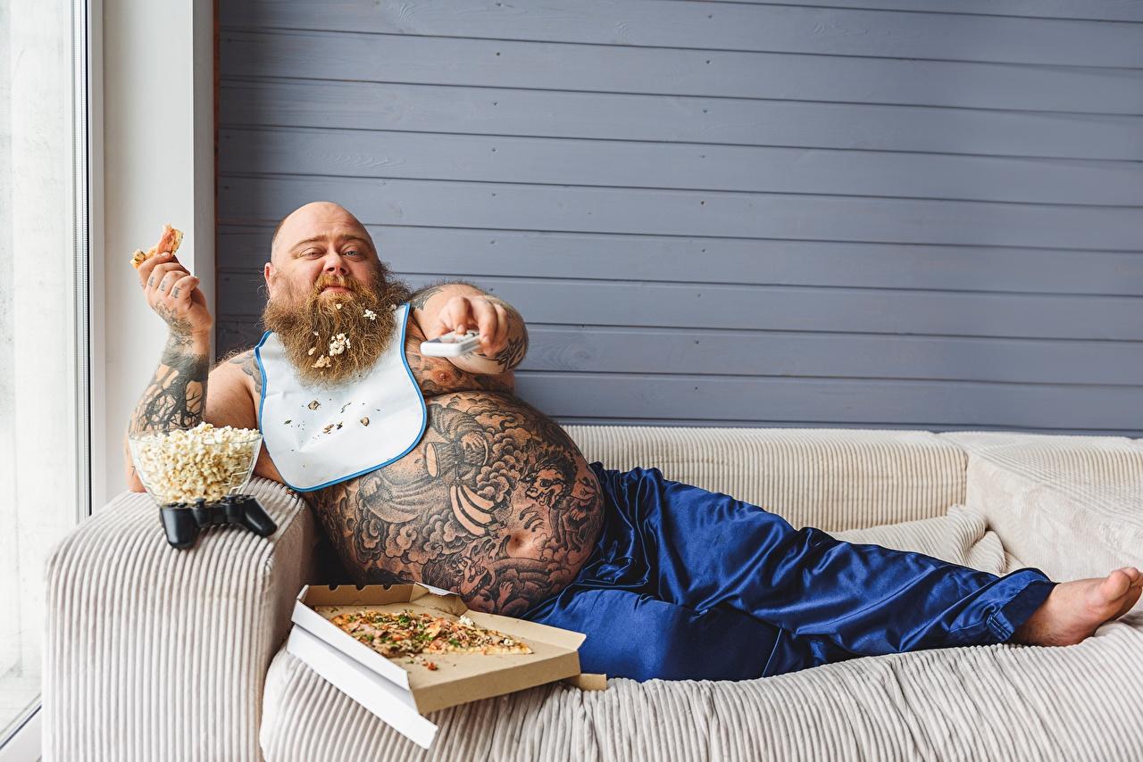 Bilder Tätowierung Mann Dick bärte Pizza Bauch sitzt Couch bärtige Barthaar bärtiger Sofa sitzen Sitzend