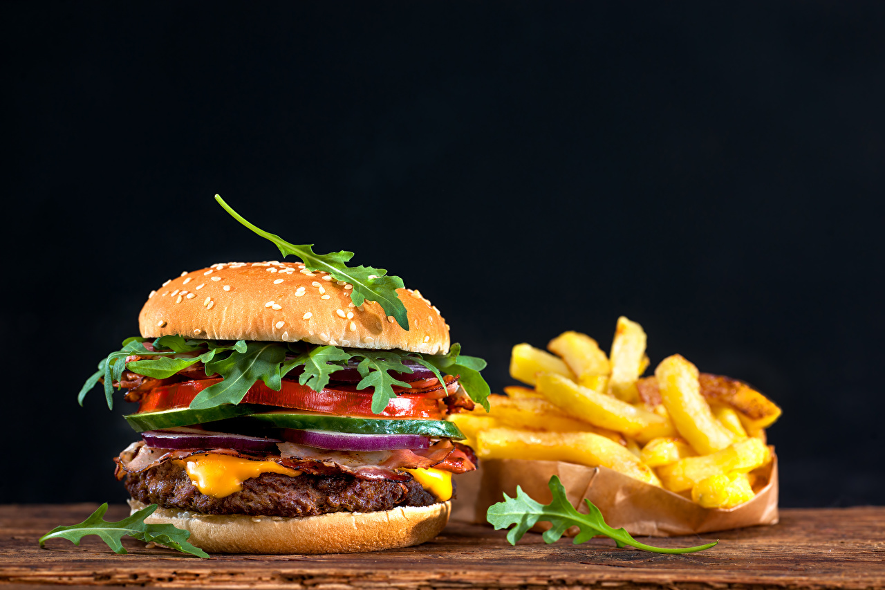 Wallpaper Hamburger finger chips Buns Fast food Food Vegetables Black background French fries