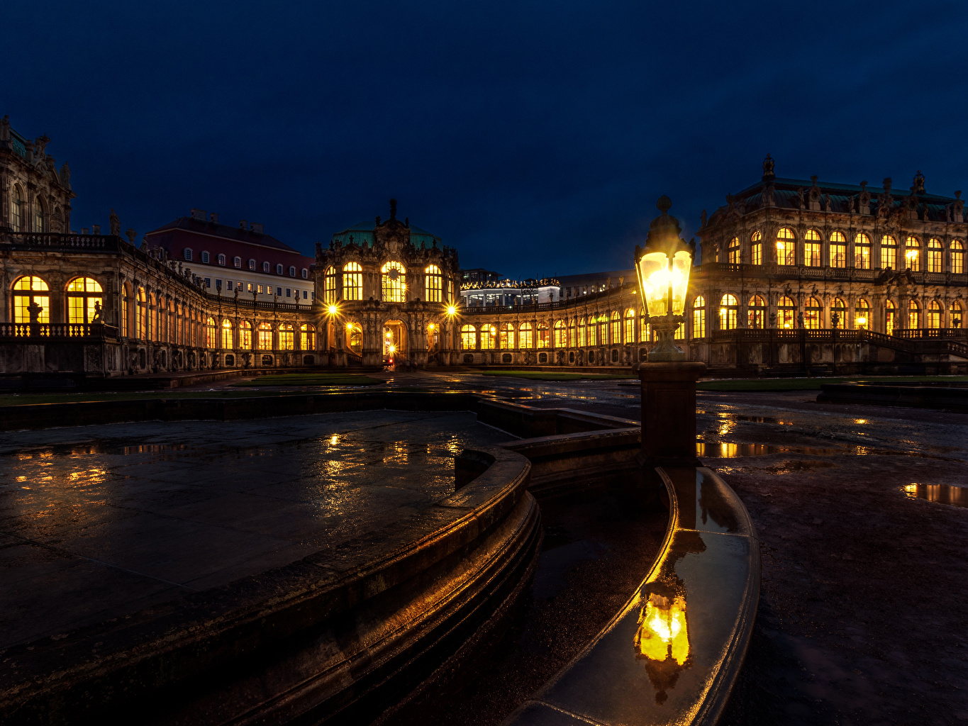 Wallpaper Dresden Germany Semperoper Reflection Night Street lights Cities Building Design reflected night time Houses