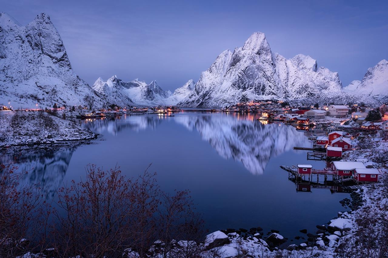 Desktop Wallpapers Nature Lofoten Norway Fjord Winter Mountains reflected Houses mountain Reflection Building