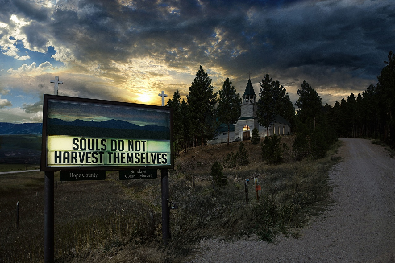 Desktop Wallpapers Far Cry 5 Church Roads Vdeo Game Evening Building