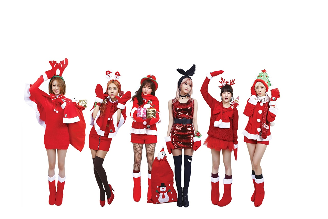 Wallpaper Christmas Knee highs Mittens Wearing boots female Legs Asian Hands Uniform White background high heels New year Girls young woman Asiatic Stilettos
