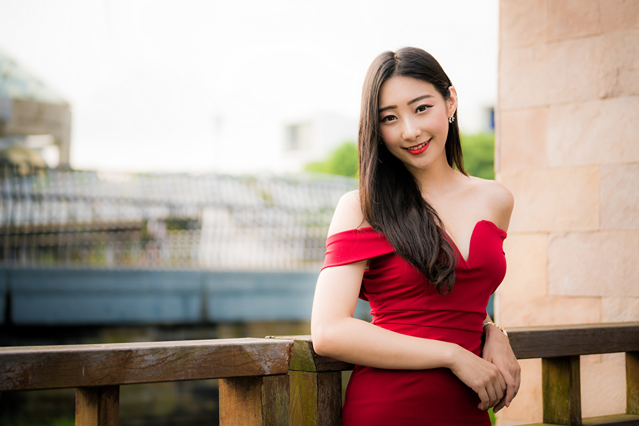 Photo Smile Bokeh Girls Asian Hands Glance Dress blurred background female young woman Asiatic Staring gown frock