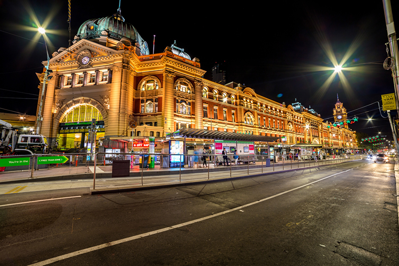 Picture Melbourne Australia Roads Street Night Houses Cities night time Building