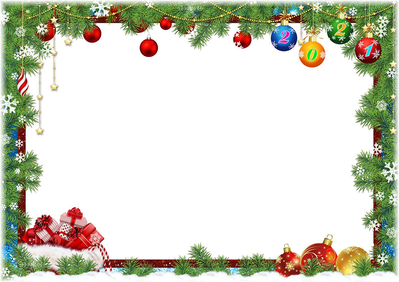 Foto 2021 Neujahr Schneeflocken Schachtel Geschenke Ast Kugeln Vorlage Grußkarte