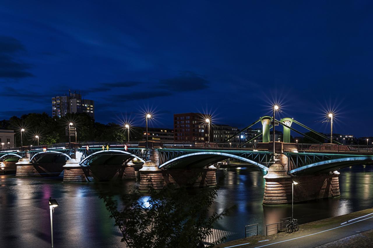 Pictures Frankfurt Germany Bridges river night time Street lights Houses Cities bridge Night Rivers Building