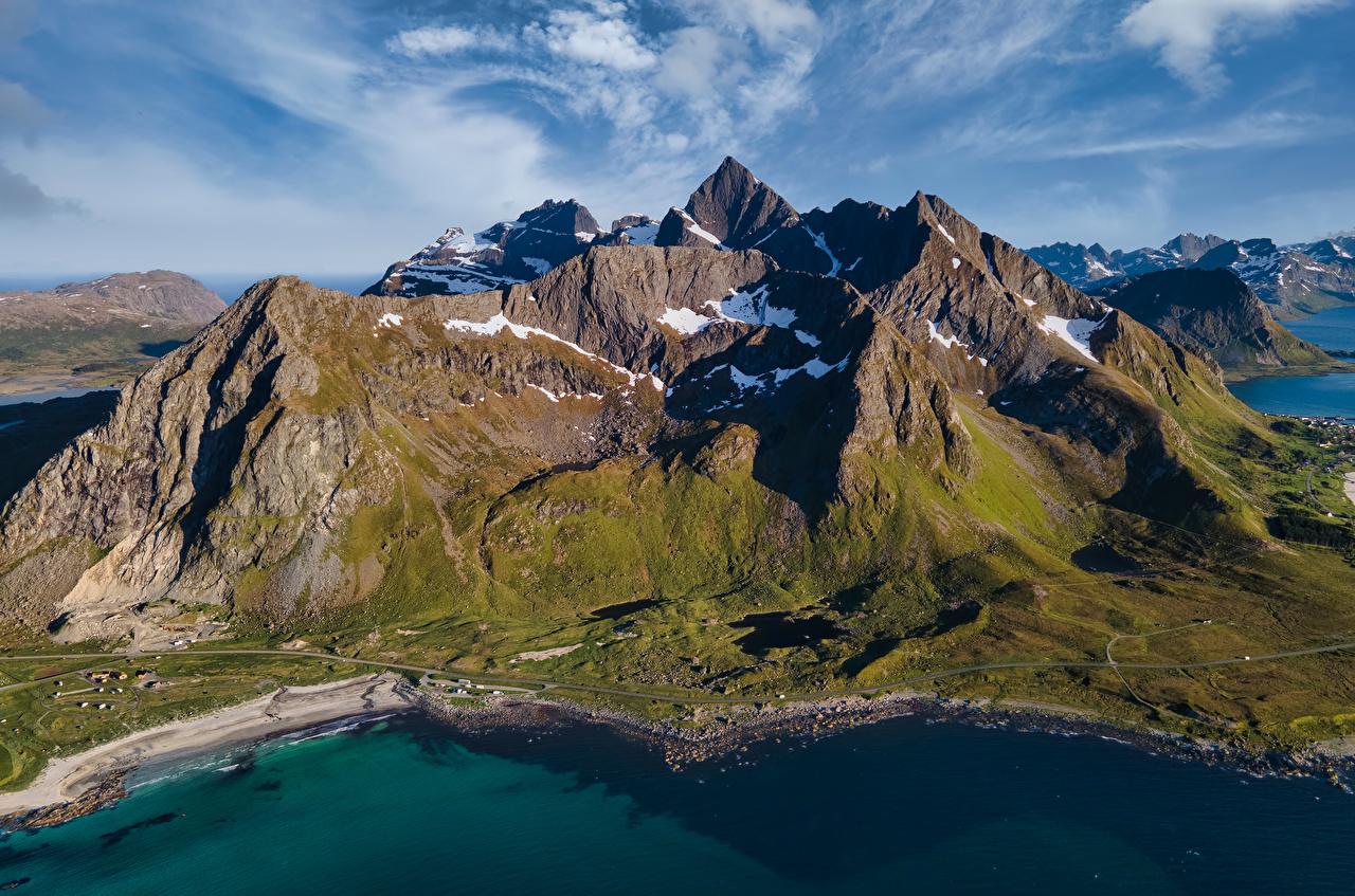 Photo Lofoten Norway Stortinden Rock Nature Mountains Crag Cliff mountain