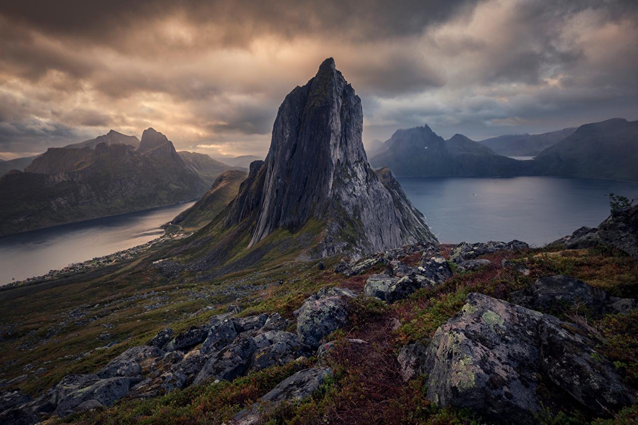 Photo Norway Senja Rock Nature mountain Clouds Crag Cliff Mountains