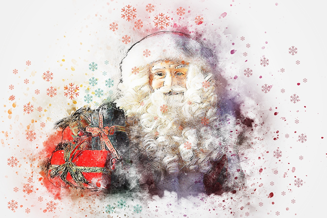 Images New year bearded Snowflakes Santa Claus Gifts Painting Art Christmas Beard beards present