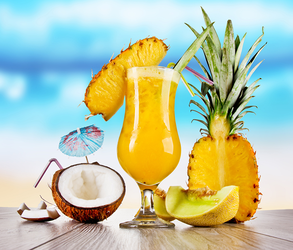 Image Melons Coconuts Pineapples Food Umbrella Stemware Cocktail parasol Mixed drink