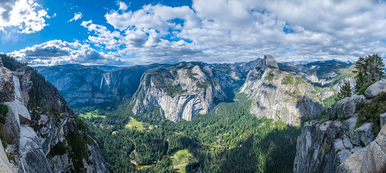 Desktop Hintergrundbilder Yosemite Kalifornien USA Panoramafotografie Glacier Point Natur Felsen Gebirge Park Landschaftsfotografie Wolke Vereinigte Staaten Panorama Berg Parks