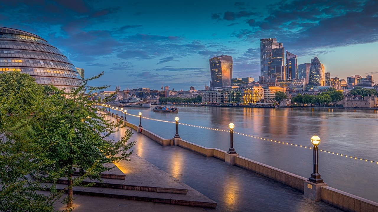 Picture London England Thames Morning sunrise and sunset Rivers Waterfront Cities Building Sunrises and sunsets river Houses