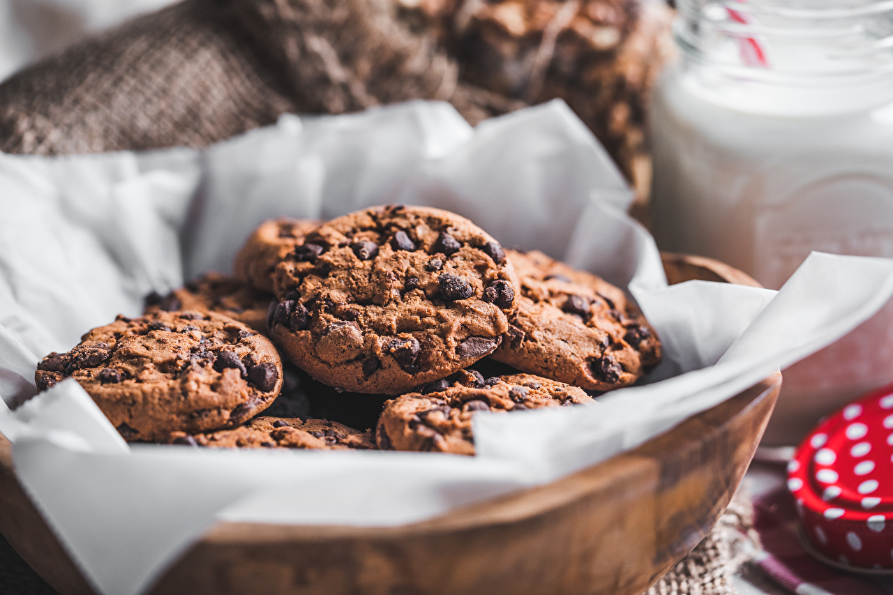 Picture blurred background Chocolate Food Cookies baking Bokeh Pastry