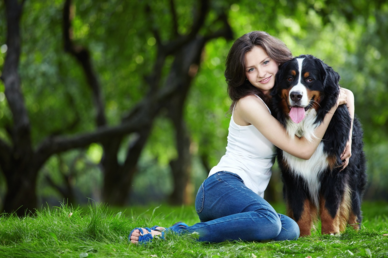 Pictures Dogs Brown haired Smile blurred background 2 hugs young woman Legs Jeans Grass Sitting dog Bokeh Two Hug Girls female hugging embrace sit