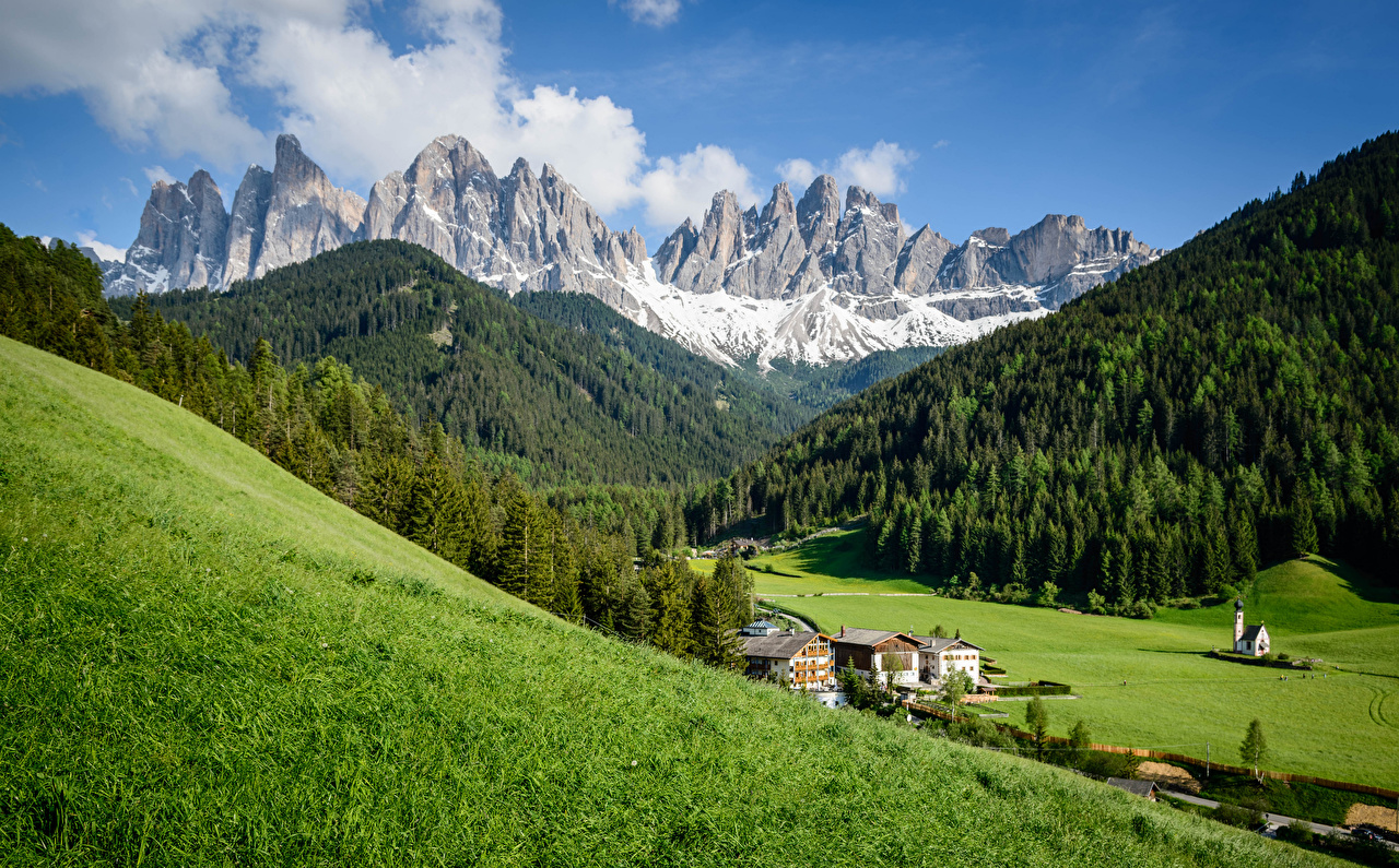 Picture Alps Italy Dolomites Nature Mountains Grasslands mountain Meadow
