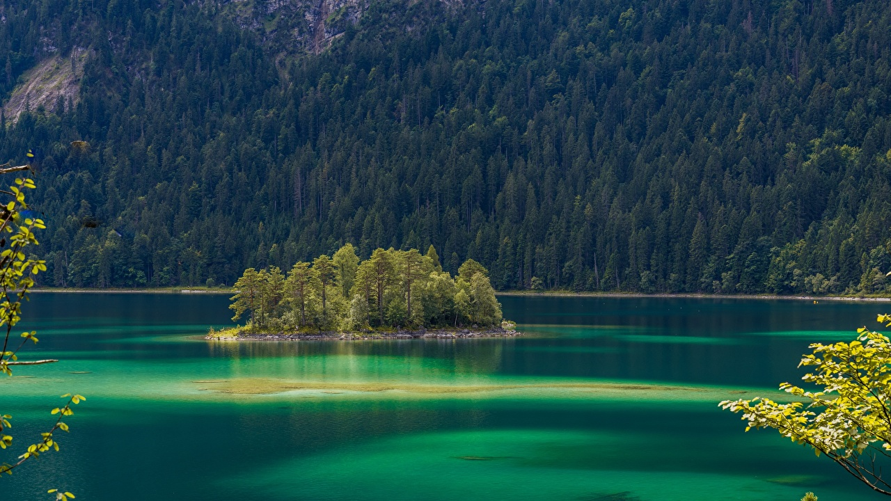 Wallpaper Bavaria Germany Eibsee Nature Lake Island forest Trees Forests