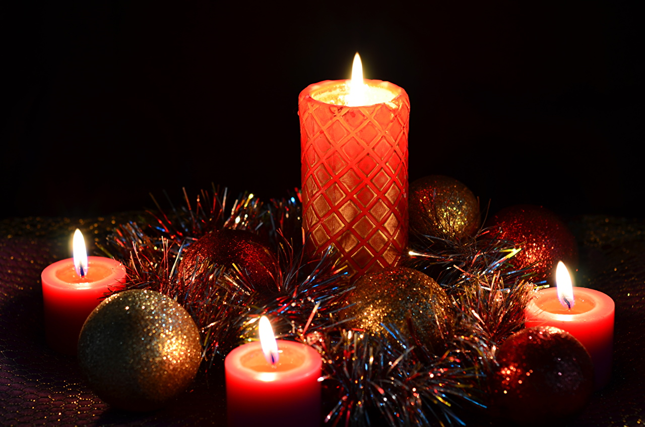 Wallpaper New year Fire Balls Candles Holidays Christmas flame