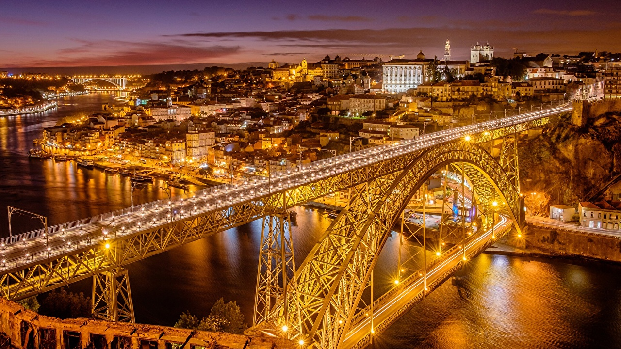 Photo Porto Portugal bridge river night time Street lights Cities Oporto Bridges Night Rivers