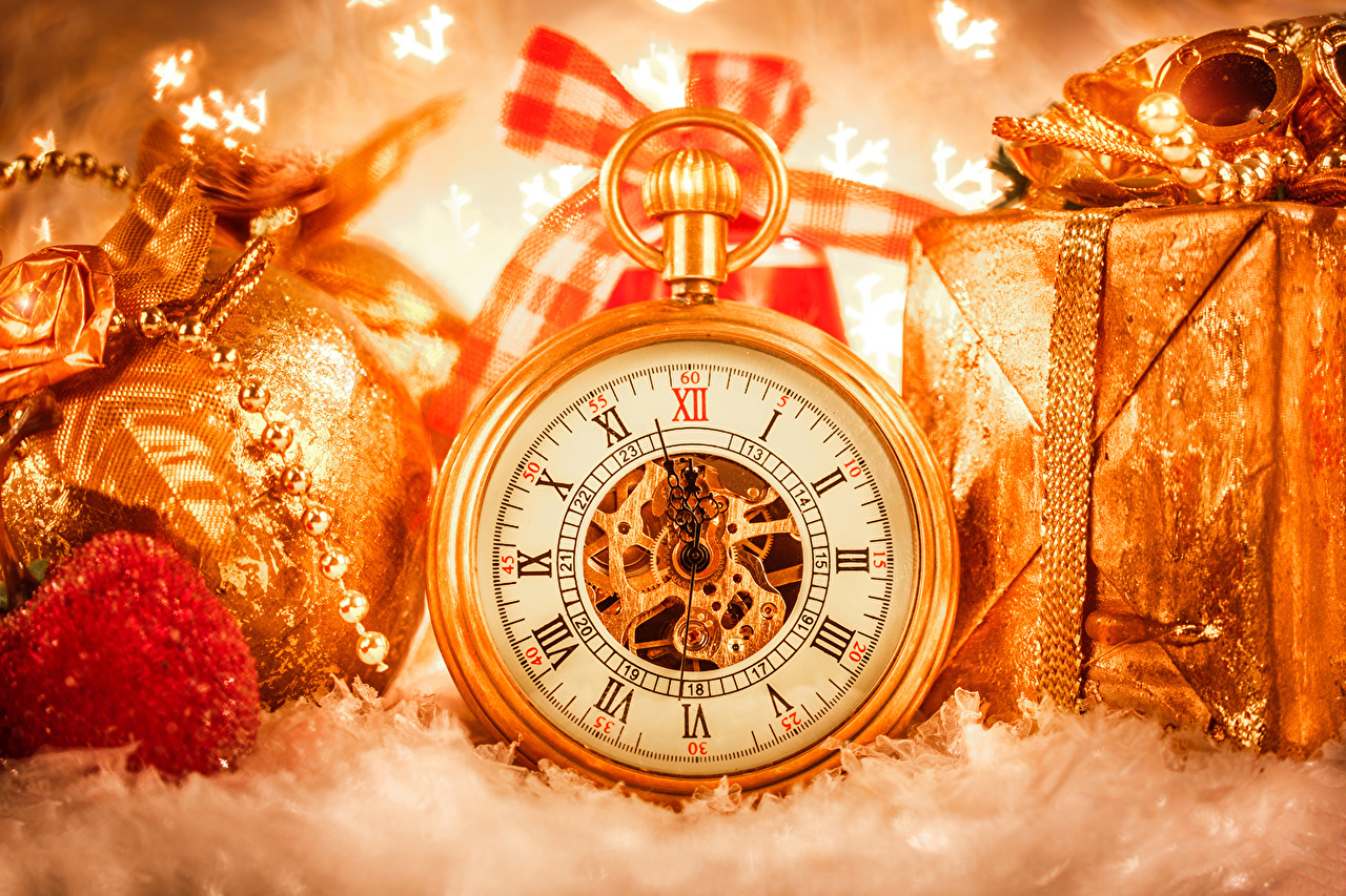 Pictures Christmas Pocket watch Clock Gold color present Holidays New year Gifts