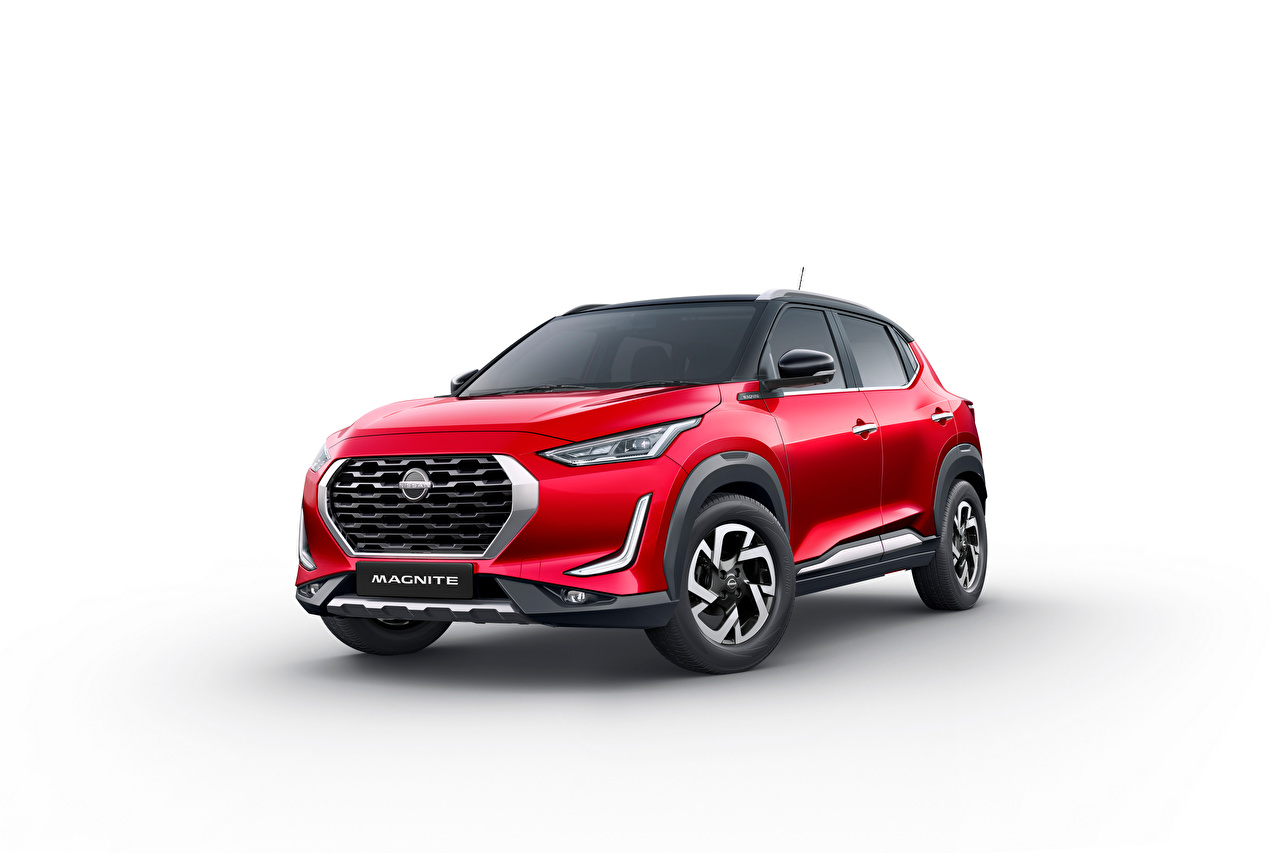 Pictures Nissan Crossover Magnite, India, 2021 Red Cars Metallic White background CUV auto automobile