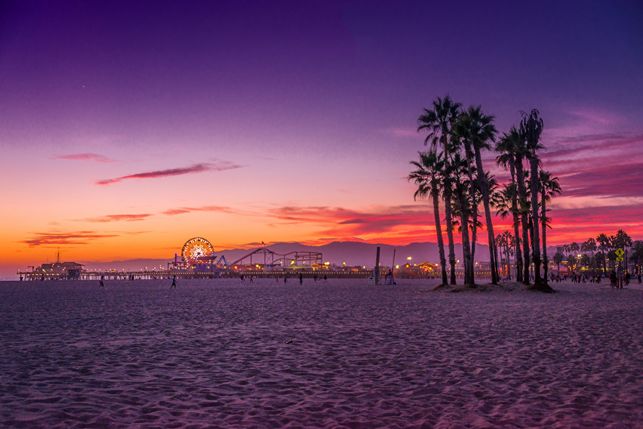 壁紙 アメリカ合衆国 朝焼けと日没 Santa Monica カリフォルニア州 ロサンゼルス ビーチ 自然 ダウンロード 写真
