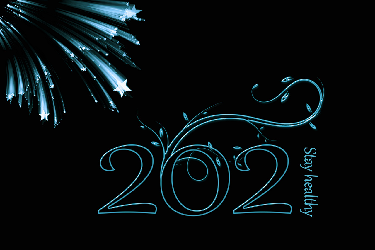 Fotos 2021 Neujahr Englisch Stern-Dekoration text Schwarzer Hintergrund englische englisches englischer kleine Sterne Wort