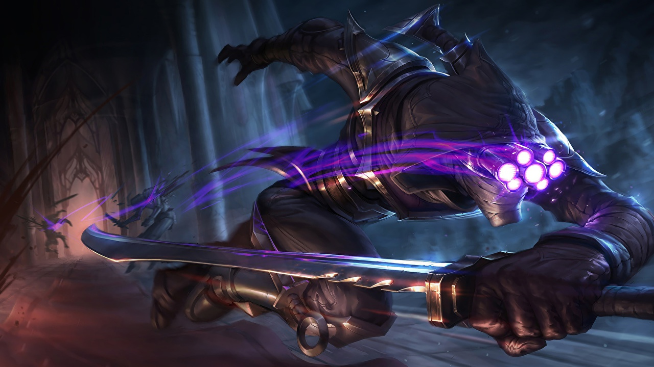 Wallpaper LOL Swords Warriors Run Assassin Master Yi Fantasy vdeo game League of Legends warrior Running Games