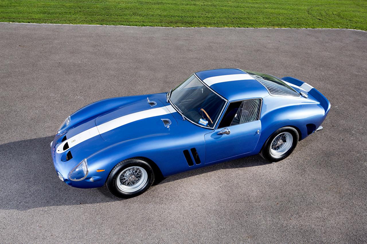 Desktop Wallpapers Tuning Ferrari 1962 250 GTO Scaglietti Blue antique automobile Retro vintage Cars auto