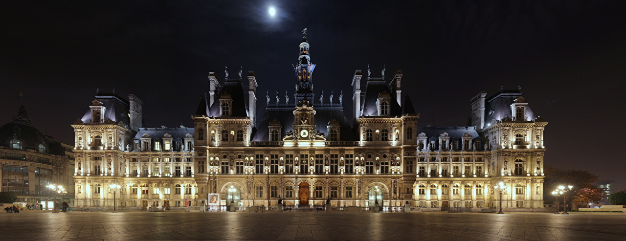 Photos Paris France Town square hotel de Ville Night Street lights Cities night time