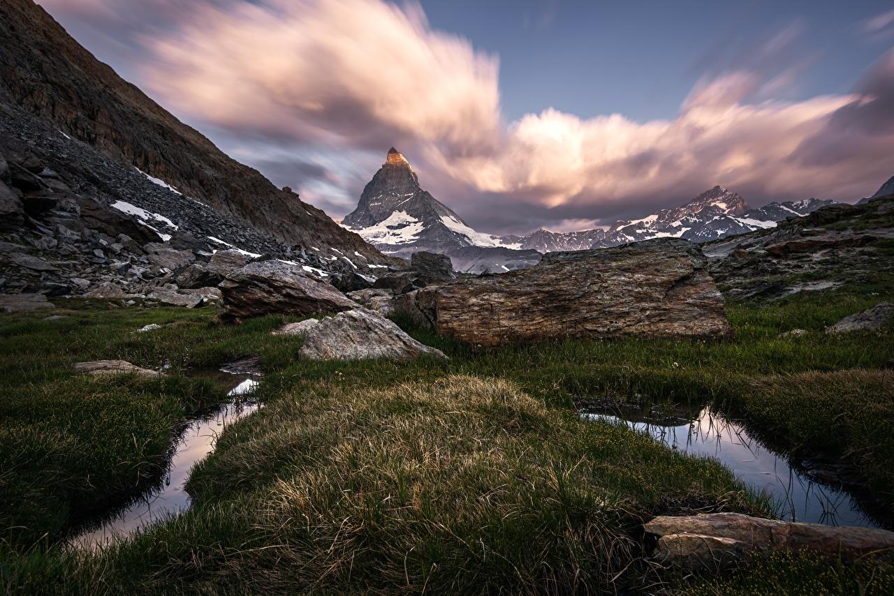 Photo Switzerland Matterhorn Cliff Nature mountain Grass Rock Crag Mountains