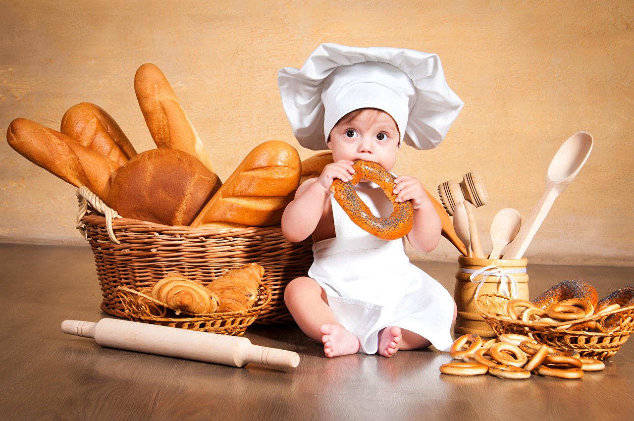 Image Boys Infants child Winter hat Buns Bread Wicker basket Cook Sitting Pastry Baby newborn Children sit chef cooks baking