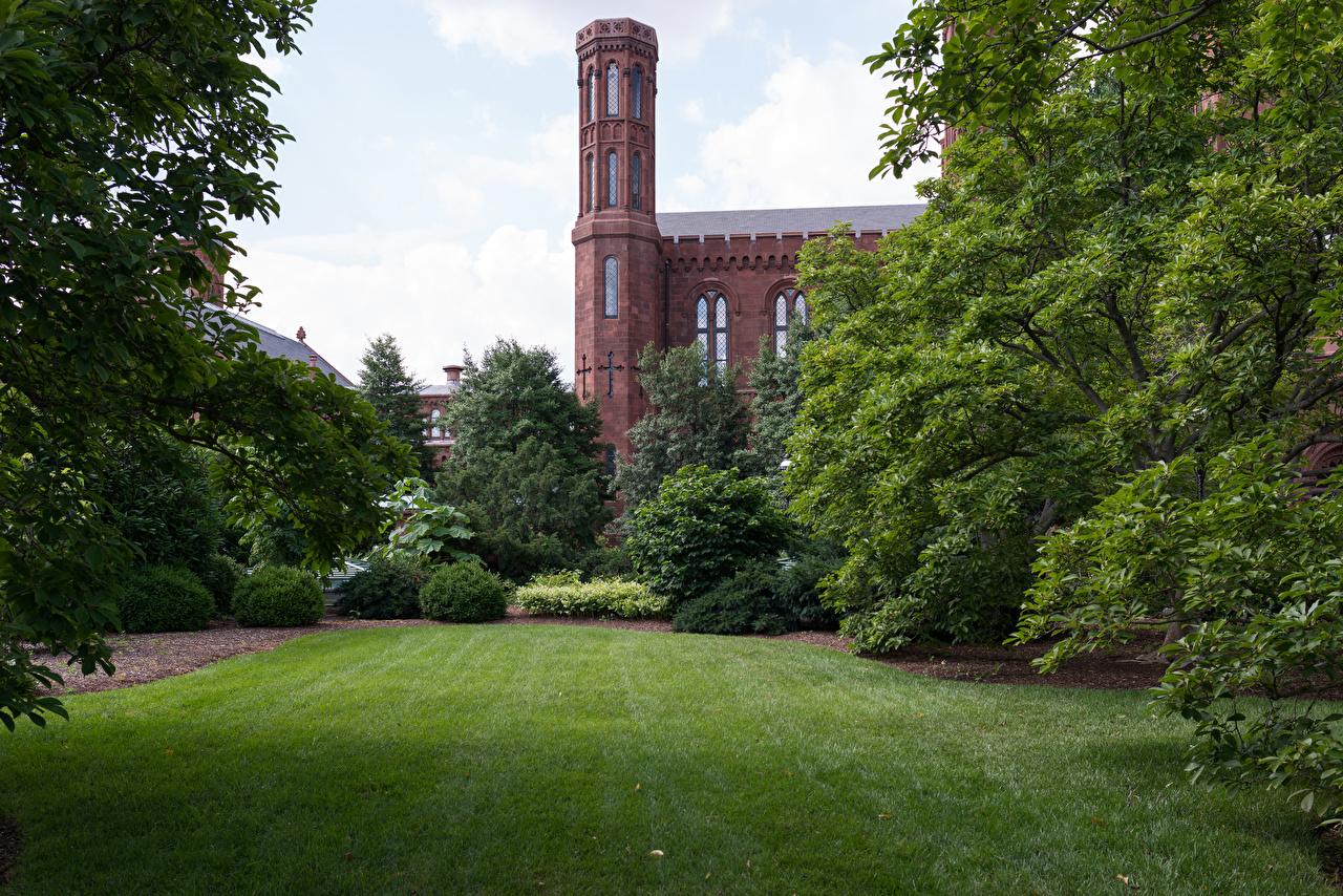 Fotos Vereinigte Staaten Smithsonian Castle Gardens Burg Natur Park Rasen Strauch USA