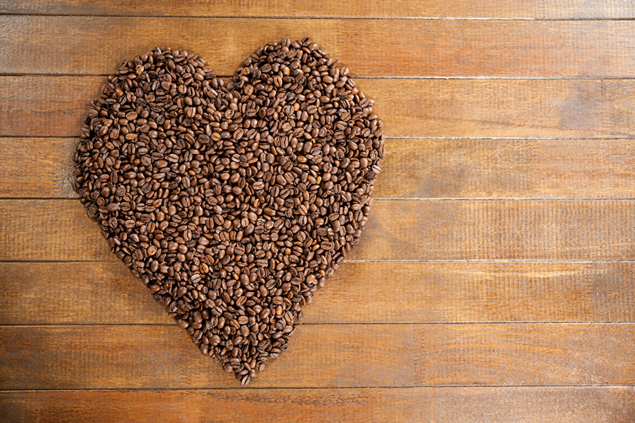 Pictures Valentine's Day Heart Coffee Grain Food Boards Wood planks