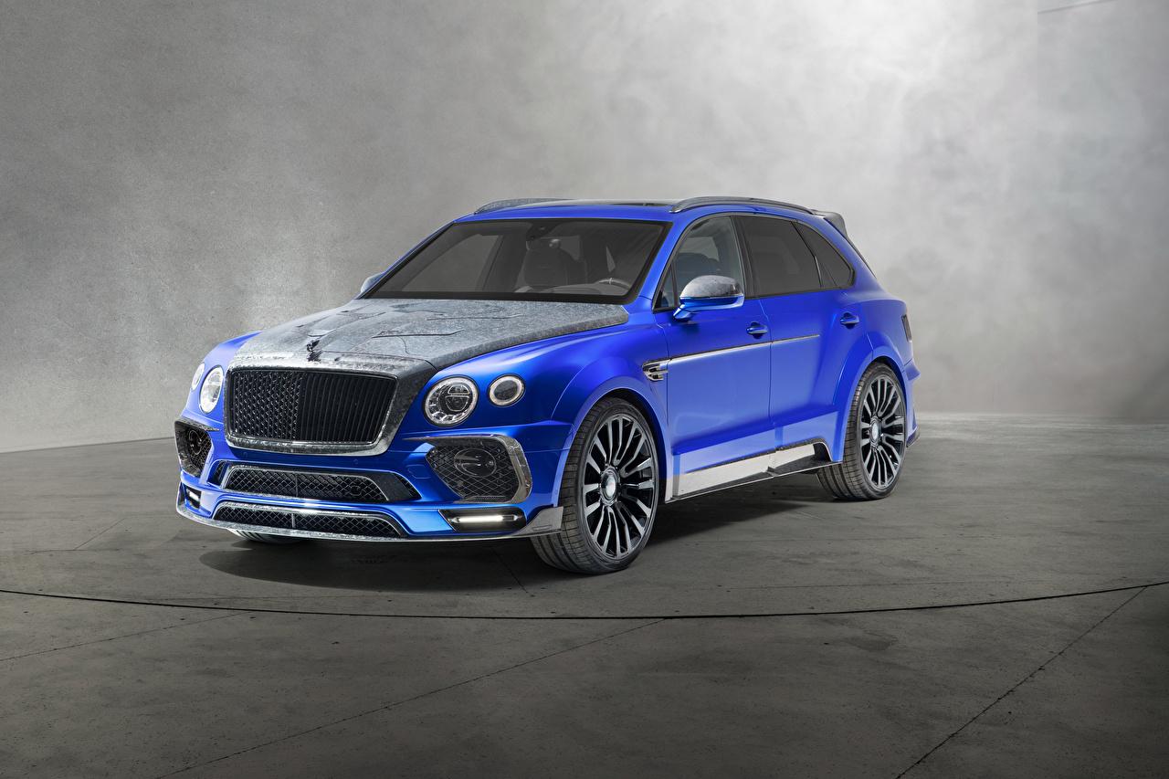 Images Bentley 2018 Mansory Bentayga  Bleurion Edition Blue Cars auto automobile