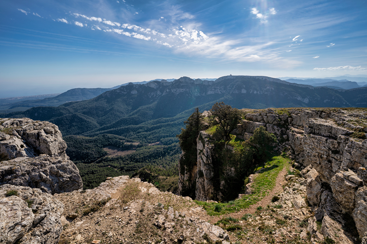 Images Spain Catalonia Cliff Nature mountain Sky Rock Crag Mountains