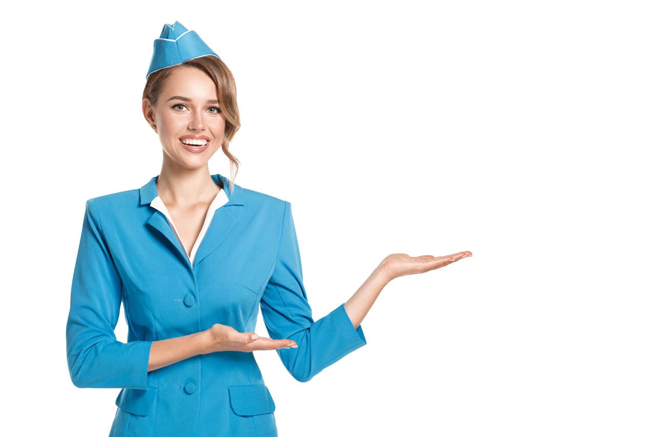 Hintergrundbilder Braune Haare Flugbegleiter Lächeln Mädchens Hand Uniform Weißer hintergrund Braunhaarige